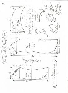 Esquema de modelagem de boina italiana tamanho PP.