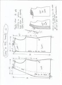 Esquema de modelagem de colete de pele ecológica tamanho 12.