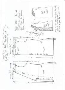 Esquema de modelagem de colete de pele ecológica tamanho 4.