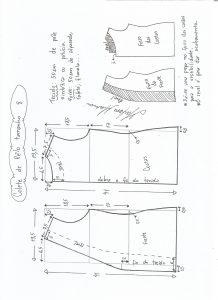 Esquema de modelagem de colete de pele ecológica tamanho 8.