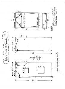 Esquema de modelagem de jaleco infantil tamanho 12