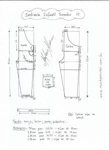 Esquema de modelagem de jardineira tamanho 10 anos.