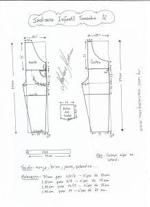 Esquema de modelagem de jardineira tamanho 12 anos.