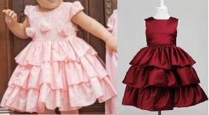 Esquema de modelagem de vestido com babados sobrepostos do 2 ao 14.