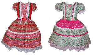 Vestido para festa junina com modelagem do 2 ao 14. O que torna o vestidinho bonito são os enfeites e estampas