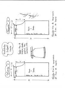 Esquema de modelagem de vestido fronha tamanho 2 e 4.