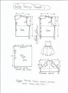 Esquema de modelagem de vestido tradicional tamanho 1 ano.