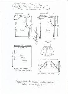 Esquema de modelagem de vestido tradicional tamanho 10 anos.