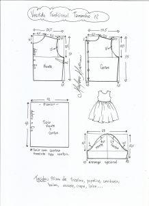 Esquema de modelagem de vestido tradicional tamanho 12 anos.
