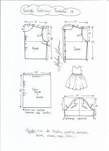 Esquema de modelagem de vestido tradicional tamanho 14 anos.