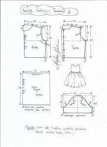 Esquema de modelagem de vestido tradicional tamanho 16 anos.