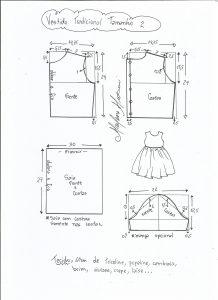Esquema de modelagem de vestido tradicional tamanho 2 anos.