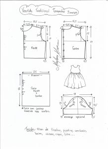 Esquema de modelagem de vestido tradicional tamanho 3 meses.