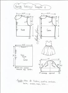 Esquema de modelagem de vestido tradicional tamanho 4 anos.