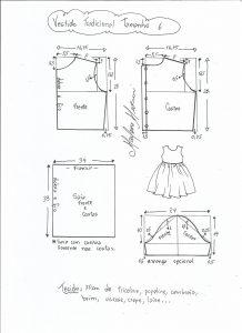 Esquema de modelagem de vestido tradicional tamanho 6 anos.