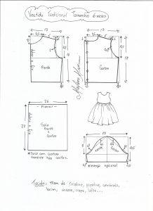 Esquema de modelagem de vestido tradicional tamanho 6 meses.