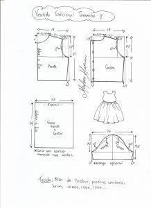 Esquema de modelagem de vestido tradicional tamanho  8 anos.