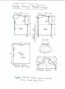 Esquema de modelagem de vestido tradicional tamanho 9 meses.