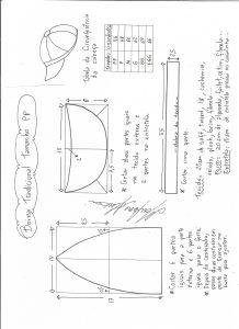 Esquema de modelagem de boina tradicional tamanho 12 a 14 anos.