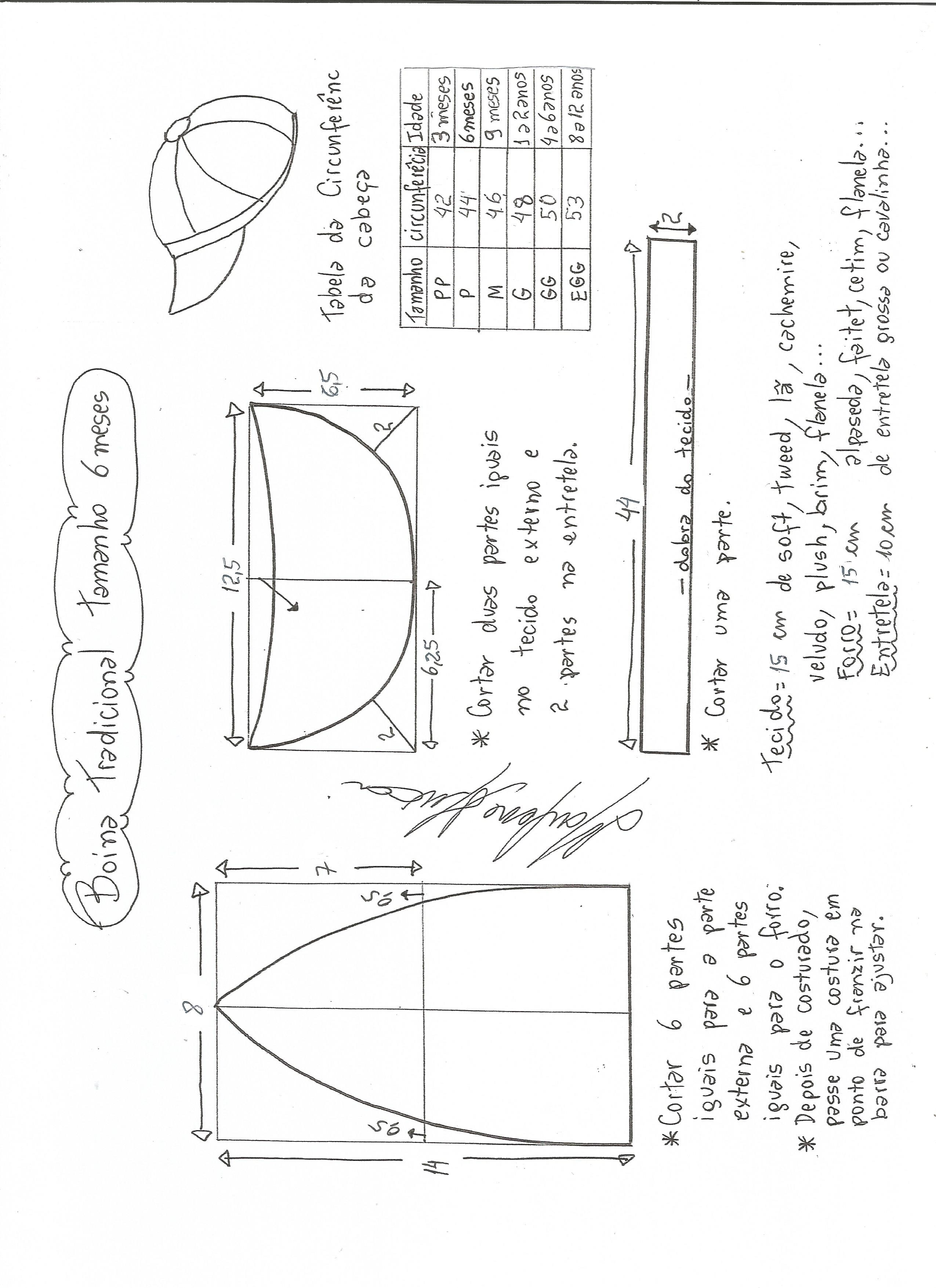 388317e3ef264 Esquema de modelagem de boina tradicional tamanho 6 meses.