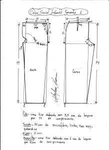 Esquema de modelagem de calça social tamanho 1.