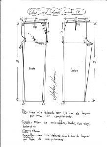 Esquema de modelagem de calça social tamanho 10.