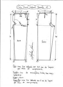 Esquema de modelagem de calça social tamanho 12.