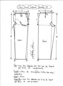 Esquema de modelagem de calça social tamanho 14.