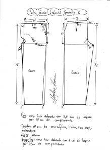 Esquema de modelagem de calça social tamanho 2.