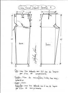 Esquema de modelagem de calça social tamanho 4.