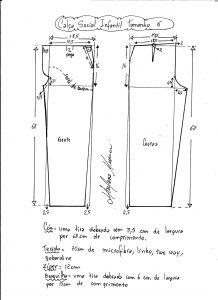 Esquema de modelagem de calça social tamanho 6.