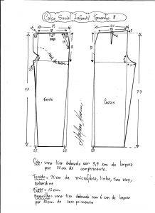 Esquema de modelagem de calça social tamanho 8.