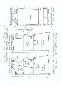 Esquema de modelagem de casaco de menina com gola alta tamanho 10.