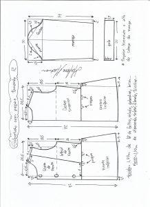 Esquema de modelagem de casaco de menina com gola alta tamanho 12.