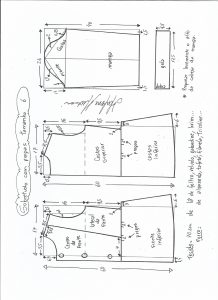 Esquema de modelagem de casaco de menina com gola alta tamanho 6.