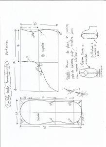 Esquema de modelagem de pantufa tamanho 13/14.