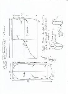 Esquema de modelagem de pantufa tamanho 17/18.