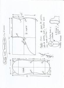 Esquema de modelagem de pantufa tamanho  19/20.