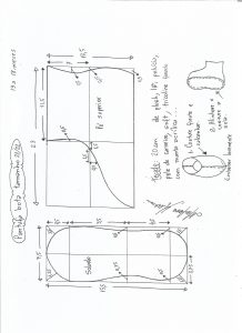 Esquema de modelagem de pantufa tamanho 21/22.