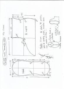Esquema de modelagem de pantufa tamanho 23/24.