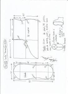 Esquema de modelagem de pantufa tamanho 25/26.