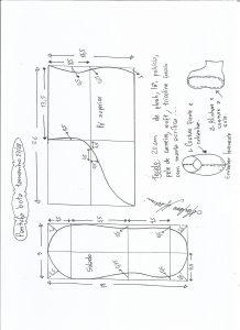 Esquema de modelagem de pantufa tamanho 27/28.