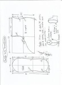Esquema de modelagem de pantufa tamanho 29/30.