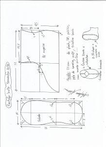Esquema de modelagem de pantufa tamanho 31/32.