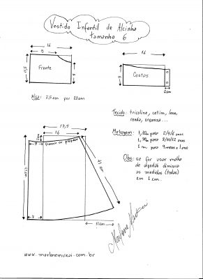 Esquema de modelagem de vestidinho de alcinha tamanho 6.