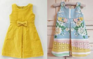 Esquema de modelagem de vestido com prega doe 6 meses a 14 anos.