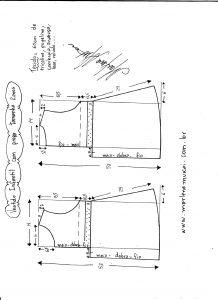 Esquema de modelagem de vestido com prega tamanho 2 anos.