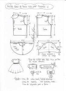 Esquema de modelagem de vestido dama de honra com saia godê tamanho 1.