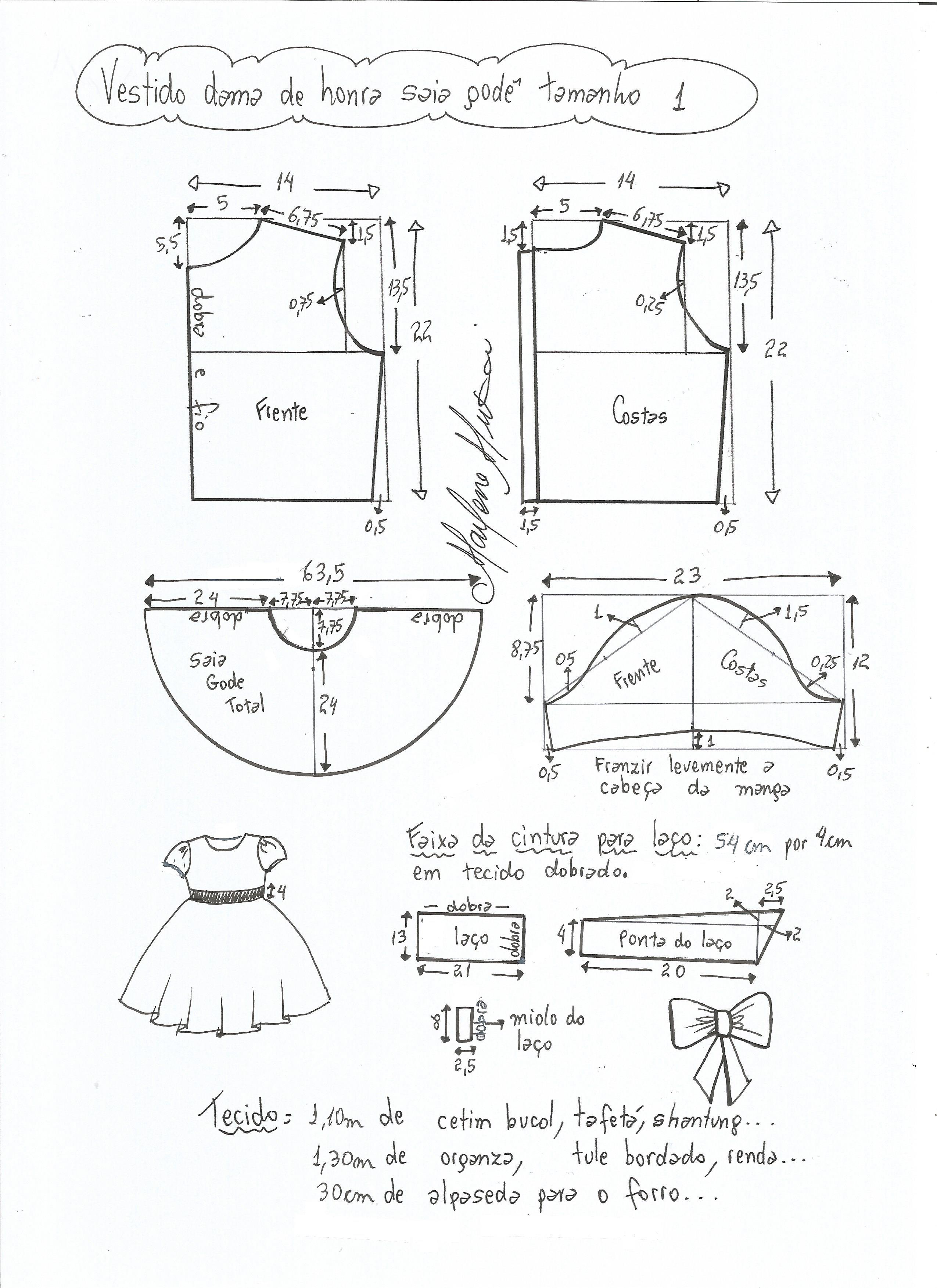 1155661f2 Esquema de modelagem de vestido dama de honra com saia godê tamanho 1.
