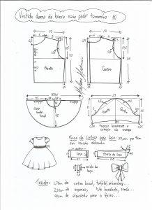 Esquema de modelagem de vestido dama de honra com saia godê tamanho 10.